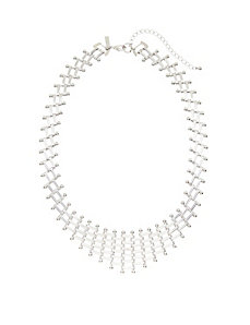 Basket weave bib necklace