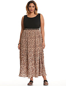 Animal pleated maxi dress