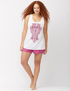 Medallion print short PJ set