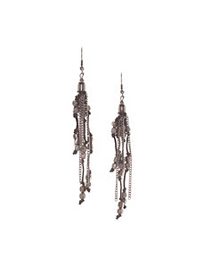 Hematite beaded tassel earrings