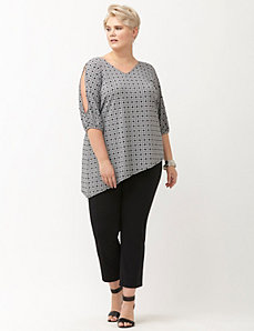 Simply Chic printed matte Jersey cold shoulder top
