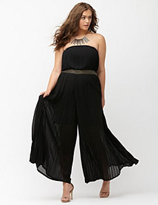 Pleated embellished jumpsuit