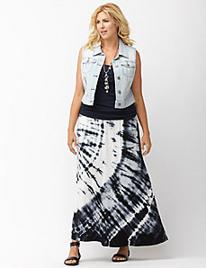 Tie-dye striped maxi skirt