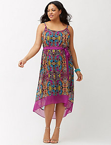 Paisley high-low tank dress