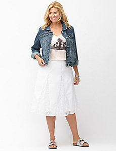 Lace gored midi skirt