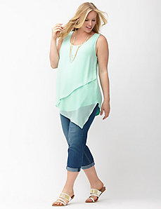 Chiffon draped asymmetric tank