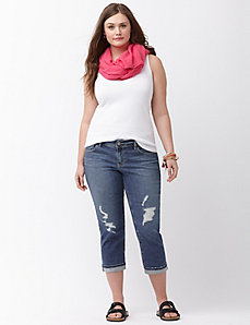 Genius Fit™ destructed denim crop