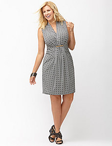 Printed gathered waist sheath dress