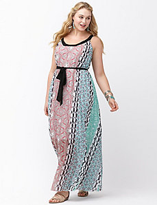Pleated deco maxi dress