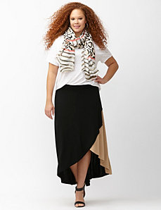 Asymmetric colorblock skirt