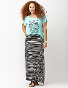 Wave stripe maxi skirt