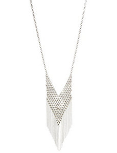 Chainmail bib necklace with fringe