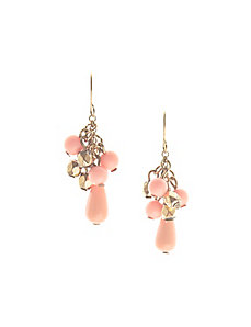 Coral bead drop earrings