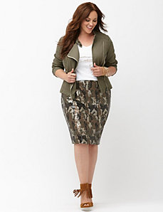 Camo sequin pencil skirt