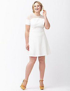 Fit & flare mesh yoke dress by ABS by Allen Schwartz