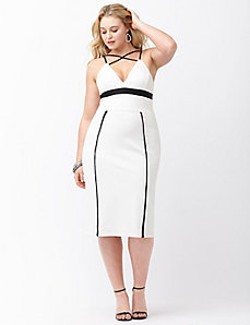 Colorblock fitted ponte dress by ABS by Allen Schwartz