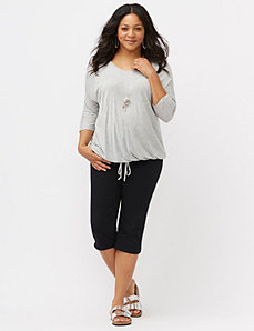 Metallic striped dolman top