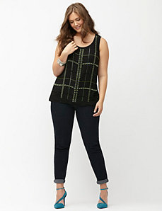 Plaid embellished shell