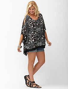 Mixed animal print cold shoulder top