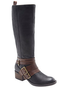 Gia two-tone leather riding boot