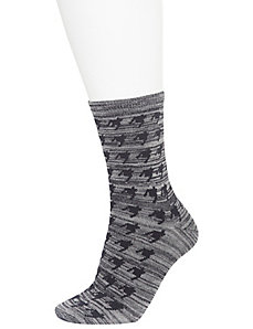 Houndstooth & melange crew socks 2-pack