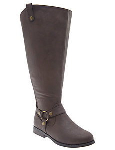 Extra wide calf harness riding boot
