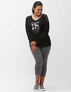 Combat Cancer mesh shoulder Livi logo top