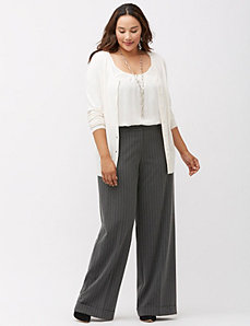 Sophie Tailored Stretch chalk stripe wide leg pant