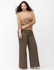 Lena Tailored Stretch plaid wide leg pant