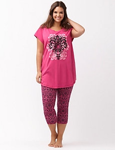 Graphic crop legging PJ set