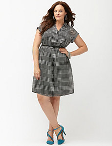 Houndstooth pleated back shirt dress