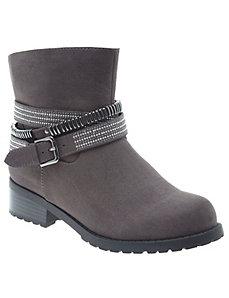 Embellished belted ankle boot