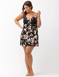 Floral satin chemise with lace