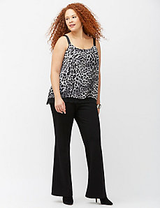Animal grosgrain tank with lace hem