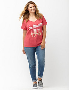 San Francisco 49ers glittered V-neck tee