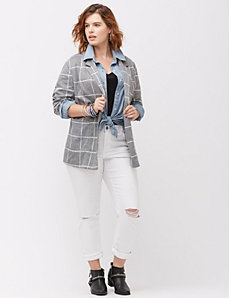 Windowpane knit blazer