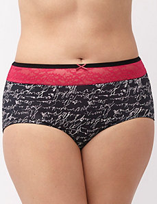 Sassy cotton brief with lace inset