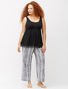 Lace hem sleep tank