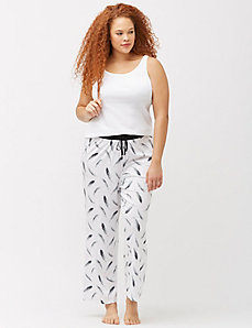 Feather print knit sleep pant