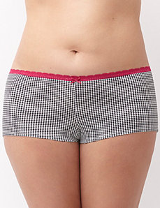 Sassy cotton boyshort with lace