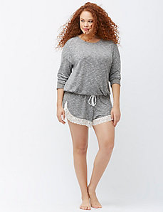 Marled lounge short with lace