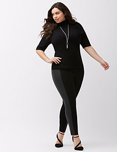 Faux leather side panel legging by Lysse