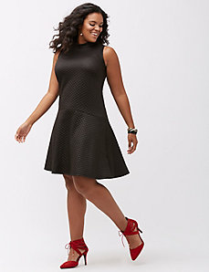 Quilted mock neck dress by ABS by Allen Schwartz