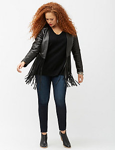 6th & Lane fringed leather jacket