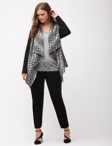 Animal print draped jacket