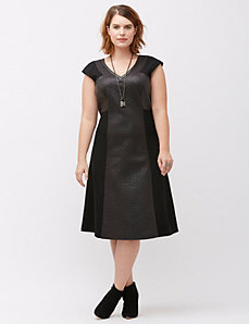 Textured faux leather inset dress