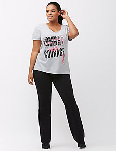 Combat Cancer ruched sleeve tee