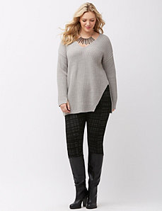 Notched hem sweater tunic