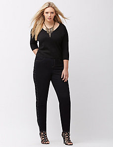 Dark Rinse Lace up skinny jean
