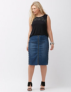 Lace up denim skirt